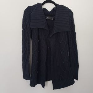 Limited xs oversized cable knit open front navy